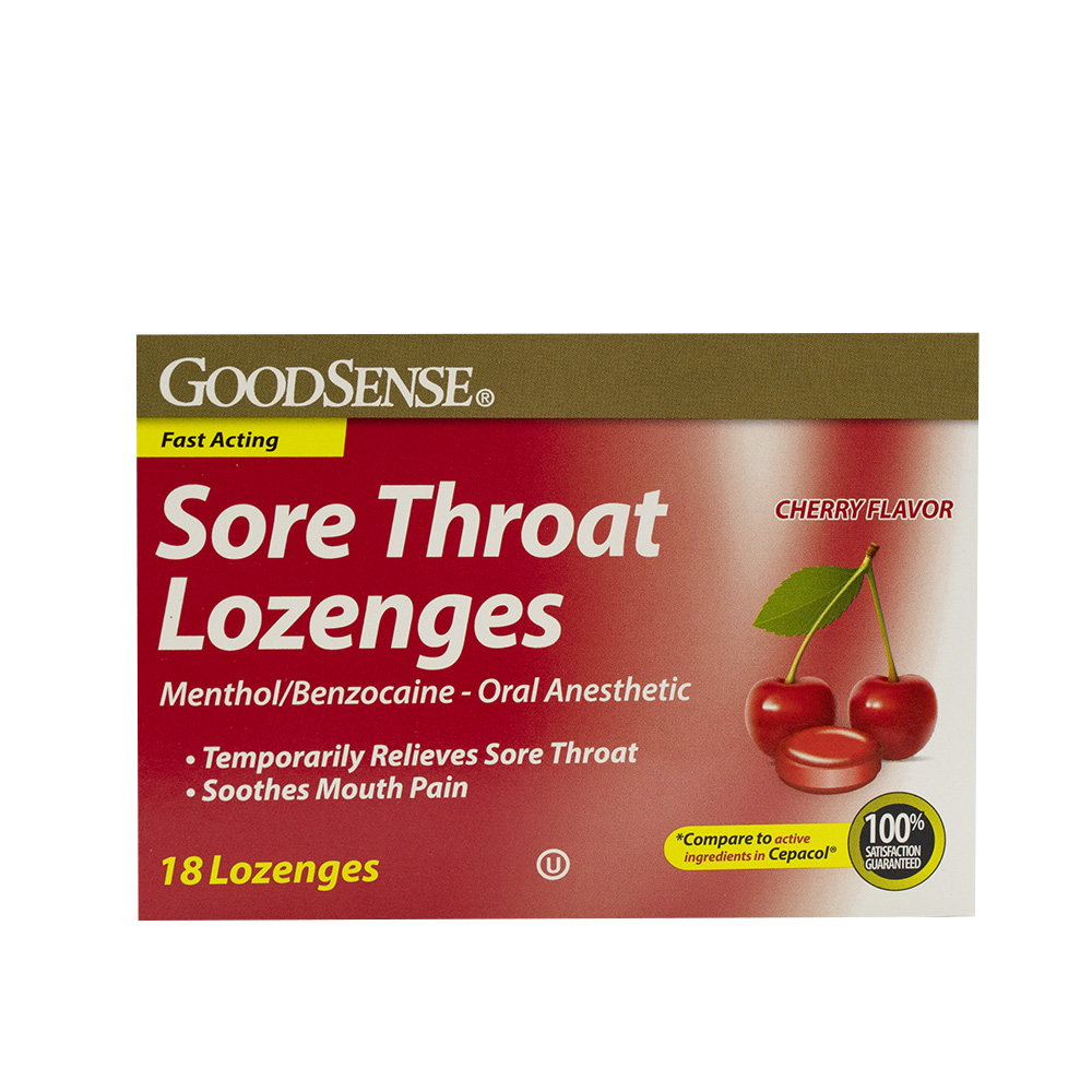 GoodSense® Sore Throat Lozenges, Menthol/Benzocaine, Cherry Flavor, 18/ea, 24/cs