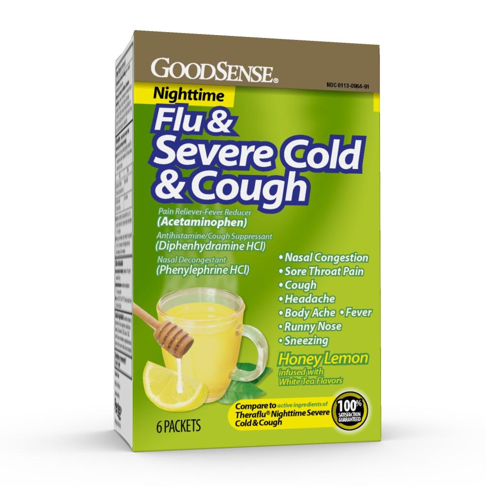 GoodSense® Flu & Severe Cold & Cough, Powder Packets, 6/ea